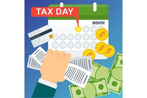 Tax day concept. Man holds accounts