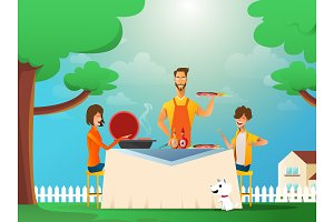Happy family eating barbecue outdoor