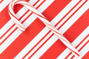 Christmas with single candy cane