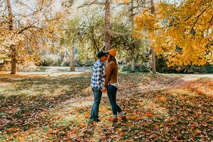 Couple Kissing Fall Engagement