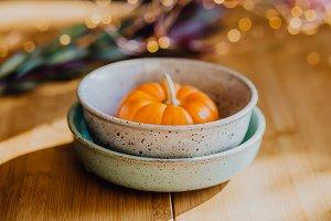 Handmade Pottery Bowl Pumpkin