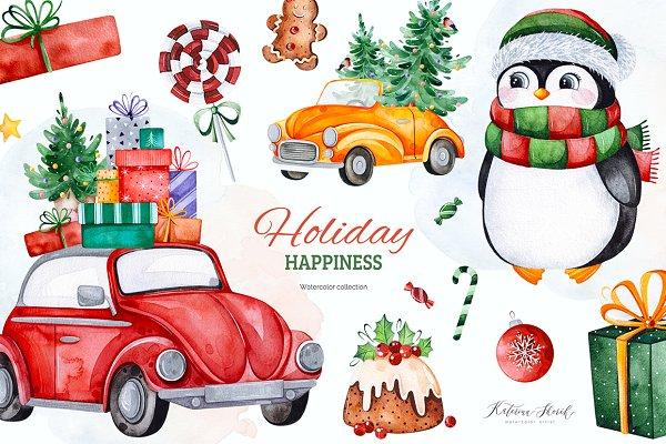 Holiday Happiness.Christmas set.