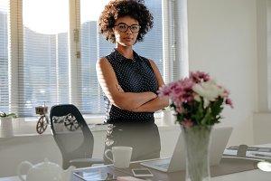African businesswoman standing