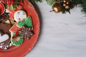 Red plate with colorful christmas co