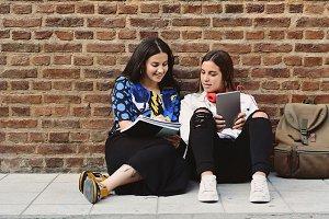 Two female students are preparing fo