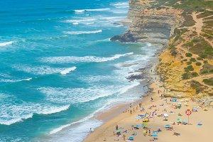 People ocean beach coast Portugal