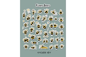 Funny bee, sticker set for your