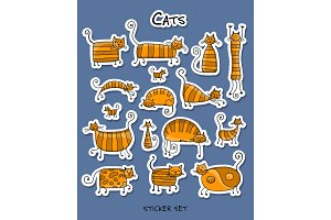Cute striped cats family, sticker