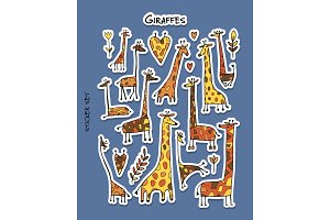 Giraffes. sticker set for your