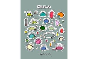 Hedgehogs, sticker set for your