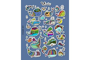 Whales, sticker set for your design