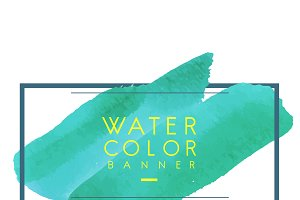 Green watercolor banner design
