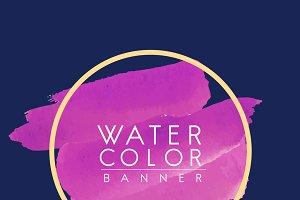 Magenta watercolor banner design
