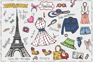 Paris summer fashion.Doodle set