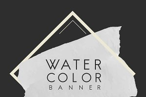Gray watercolor banner design