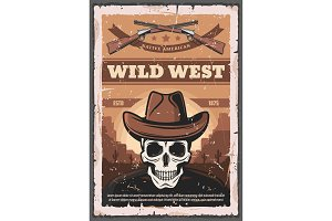 American Wild West, skull and rifles