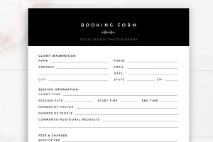 Photography Booking Form Template