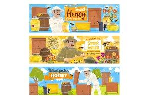 Beekeeping apiary farm and beekeeper
