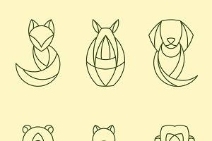linear geometrical animal vector set