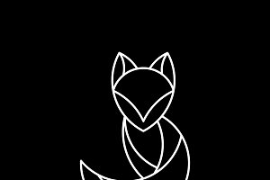 Linear fox geometrical animal vector