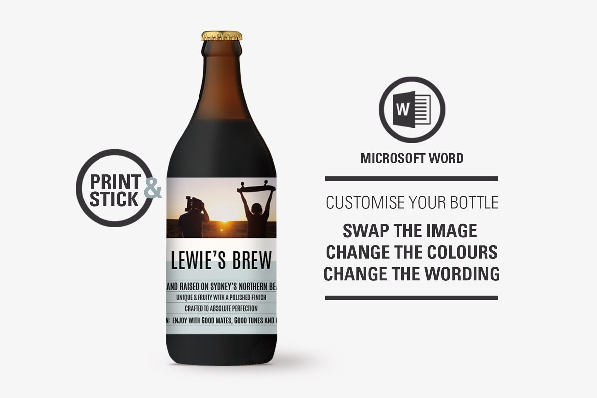 Lewie Beer Bottle Label Template ~ Stationery Templates