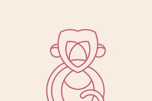 Linear monkey geometrical animal
