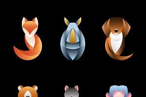 Geometrical animal design vector set