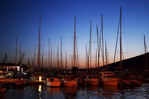 Sunset at the port for yachts. Croat