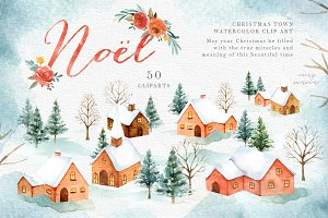 Noel Christmas Town Watercolor Set