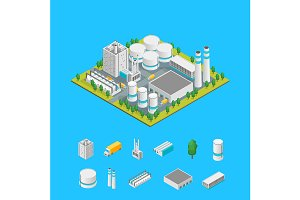 Factory Concept 3d Isometric View.