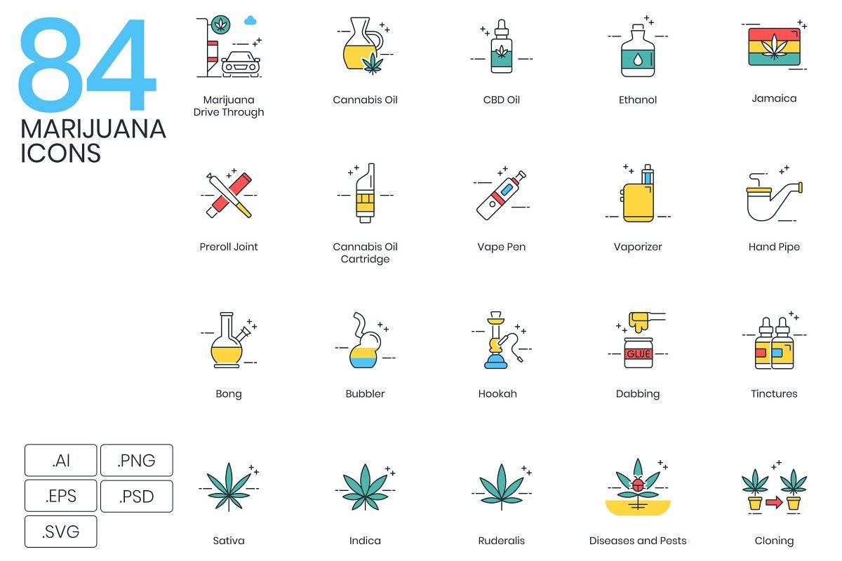 84 Marijuana & Weed Icons