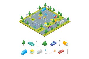 Parking Zone Concept 3d Isometric