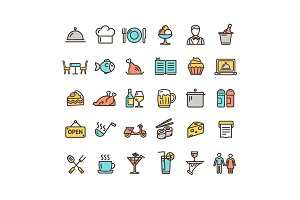 Restaurant Service Thin Line Icons