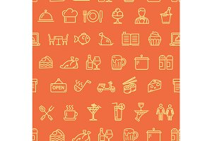 Restaurant  Pattern Background.
