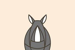 Cute rhino geometrical animal vector