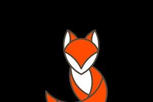 Cute fox geometrical animal vector