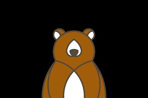 Brown bear geometrical animal vector