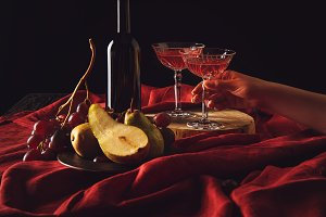 still life with fruits and wine on r