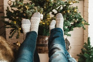 Couple in Christmas socks.