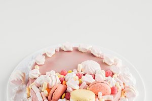 pink cake with marshmallows and maca