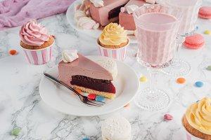 piece of birthday cake, candies, swe
