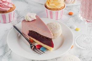 piece of birthday cake, macaroons, c