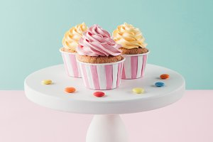 cupcakes with buttercream and candie