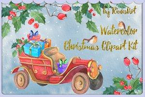 Christmas watercolor clipart set