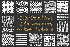 Hand drawn patterns, cards, ink dots