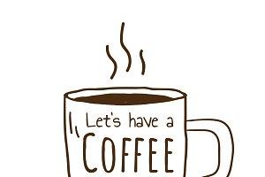 Coffee time cafe logo vector