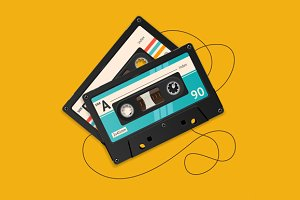Vector broken vintage audio tape