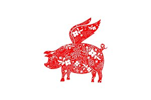 Chinese Zodiac Sign Year of Pig, Red