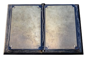 An old metal book. Blank pages of an