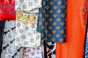 Indian fabrics hanging on the